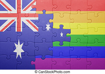 puzzle with the national flag of australia and gay flag