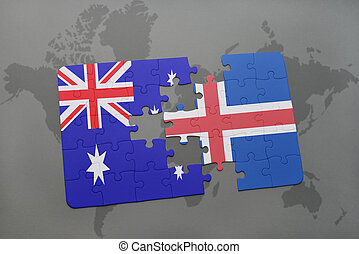puzzle with the national flag of australia and iceland on a world map background.