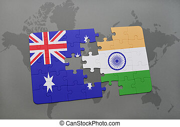 puzzle with the national flag of australia and india on a world map background.