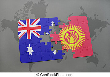 puzzle with the national flag of australia and kyrgyzstan on a world map background.