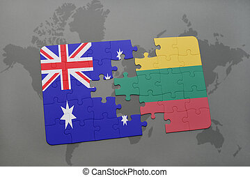 puzzle with the national flag of australia and lithuania on a world map background.