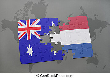 puzzle with the national flag of australia and netherlands on a world map background.
