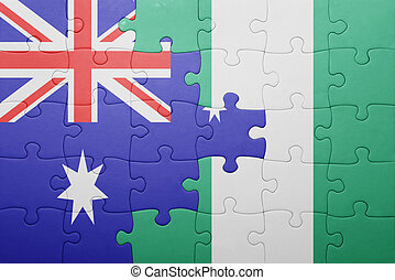 puzzle with the national flag of australia and nigeria