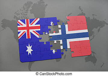 puzzle with the national flag of australia and norway on a world map background.