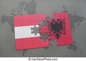 puzzle with the national flag of austria and albania on a world map background.