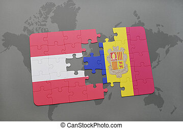 puzzle with the national flag of austria and andorra on a world map background.