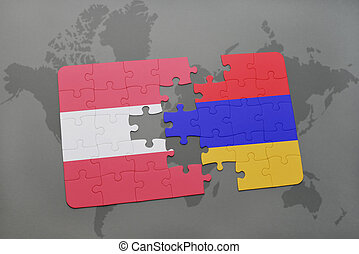 puzzle with the national flag of austria and armenia on a world map background.