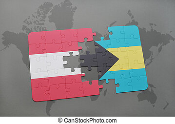 puzzle with the national flag of austria and bahamas on a world map background.