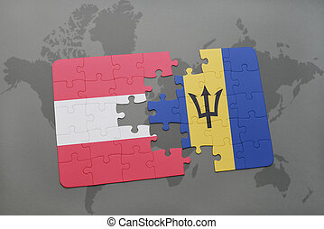 puzzle with the national flag of austria and barbados on a world map background.