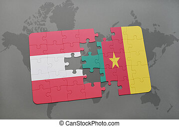 puzzle with the national flag of austria and cameroon on a world map background.