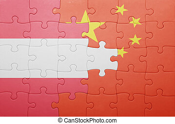 puzzle with the national flag of austria and china