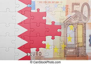 puzzle with the national flag of bahrain and euro banknote