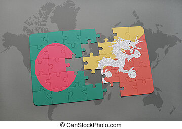 puzzle with the national flag of bangladesh and bhutan on a world map background.