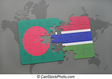 puzzle with the national flag of bangladesh and gambia on a world map