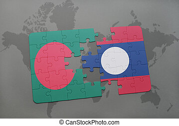 puzzle with the national flag of bangladesh and laos on a world map background.