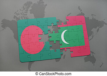 puzzle with the national flag of bangladesh and maldives on a world map background.