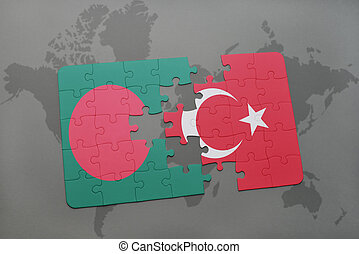 puzzle with the national flag of bangladesh and turkey on a world map background.