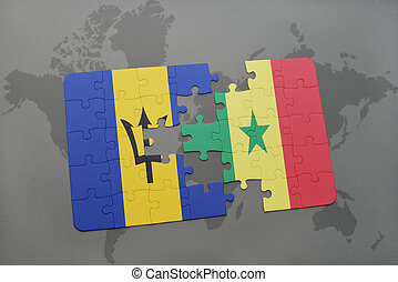 puzzle with the national flag of barbados and senegal on a world map