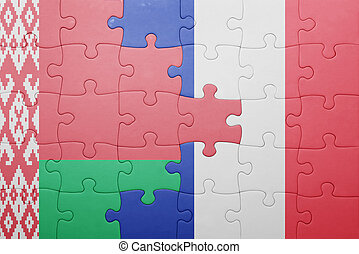 puzzle with the national flag of belarus and france