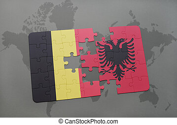 puzzle with the national flag of belgium and albania on a ...