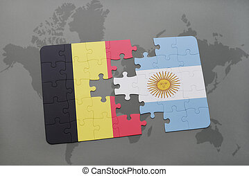 puzzle with the national flag of belgium and argentina on a world map background.