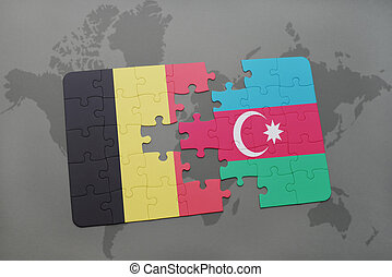 puzzle with the national flag of belgium and azerbaijan on a world map background.