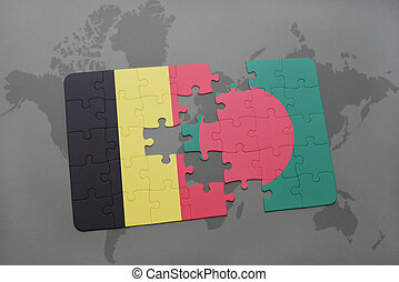 puzzle with the national flag of belgium and bangladesh on a world map background.