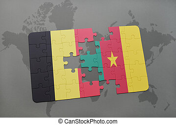 puzzle with the national flag of belgium and cameroon on a world map background.