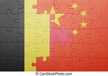 puzzle with the national flag of belgium and china