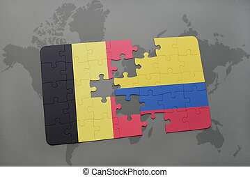puzzle with the national flag of belgium and colombia on a ...
