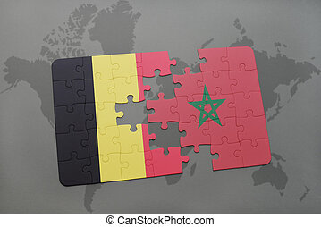 puzzle with the national flag of belgium and morocco on a world map background.
