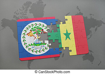 puzzle with the national flag of belize and senegal on a world map