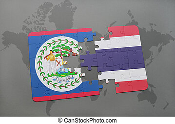 puzzle with the national flag of belize and thailand on a world map