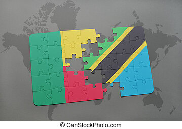 puzzle with the national flag of benin and tanzania on a world map