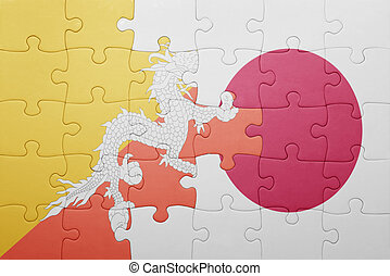 puzzle with the national flag of bhutan and japan