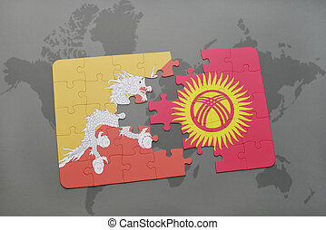 puzzle with the national flag of bhutan and kyrgyzstan on a world map background.