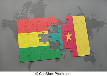 puzzle with the national flag of bolivia and cameroon on a world map