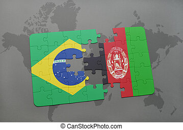 puzzle with the national flag of brazil and afghanistan on a world map background.