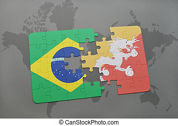 puzzle with the national flag of brazil and bhutan on a world map background.