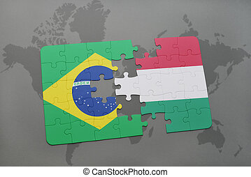 puzzle with the national flag of brazil and hungary on a world map background.