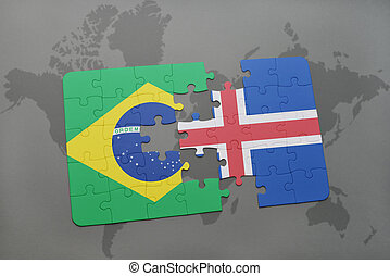 puzzle with the national flag of brazil and iceland on a world map background.