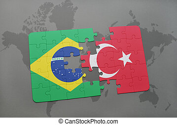 puzzle with the national flag of brazil and turkey on a world map background.