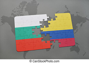 puzzle with the national flag of bulgaria and colombia on a world map