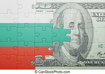 puzzle with the national flag of bulgaria and dollar banknote