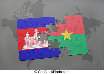 puzzle with the national flag of cambodia and burkina faso on a world map