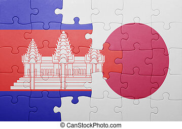 puzzle with the national flag of cambodia and japan