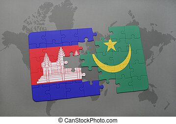 puzzle with the national flag of cambodia and mauritania on a world map