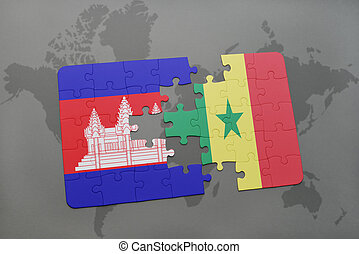 puzzle with the national flag of cambodia and senegal on a world map
