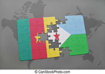 puzzle with the national flag of cameroon and djibouti on a world map.