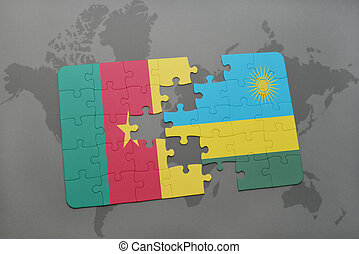 puzzle with the national flag of cameroon and rwanda on a world map.